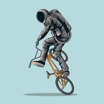 Ilustración de bicicleta de astronauta freestyle bmx