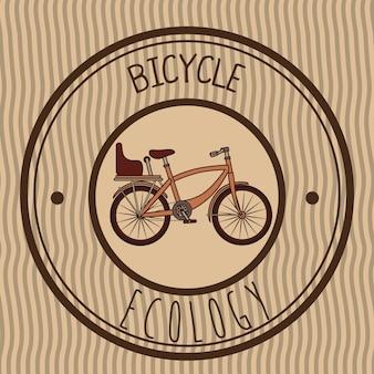Ilustración de bicicleta emblema retro