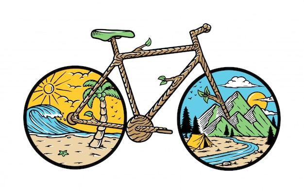 Ilustración de bicicleta de naturaleza