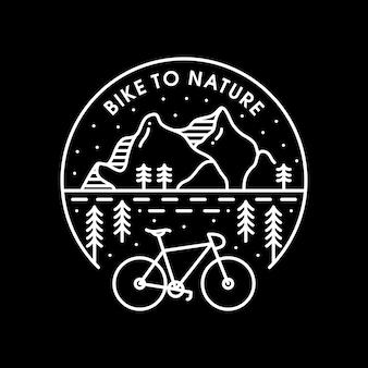 Ilustración de bicicleta a la naturaleza