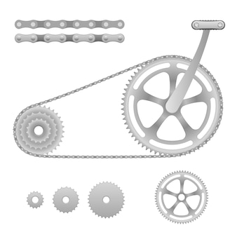 Ilustración de bicicleta de transmisión de cadena con pedal