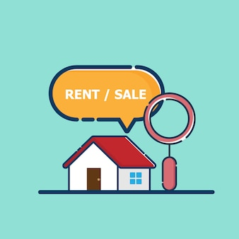 Ilustración de bienes raíces en busca de una casa en venta o alquiler con diseño plano de vector de lupa