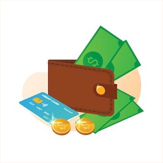 Ilustración de billetera y mucho dinero