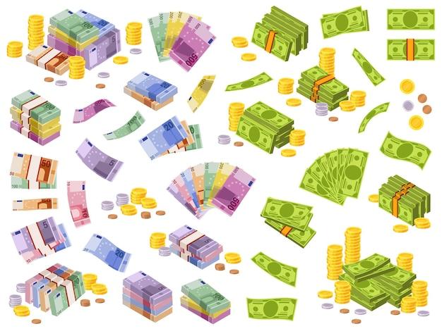 Ilustración de billetes de dólar y euro