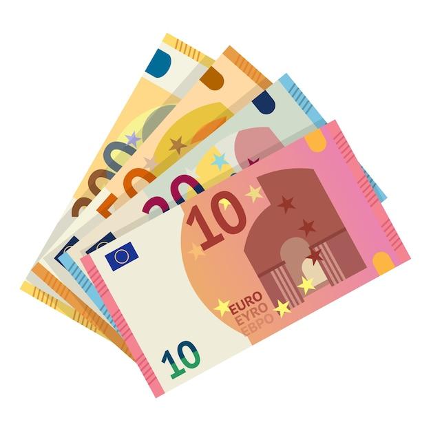 Ilustración de billetes en euros. moneda de dinero europea, imágenes prediseñadas de billetes de papel sobre fondo blanco. diez, veinte, cincuenta, elementos en efectivo en euros. capital, cambio, pago