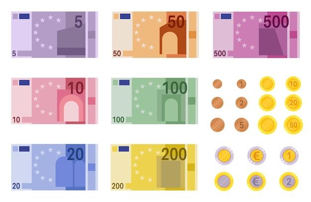 Ilustración de billetes en euros