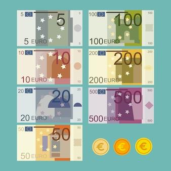 Ilustración de billetes de moneda euro en estilo plano