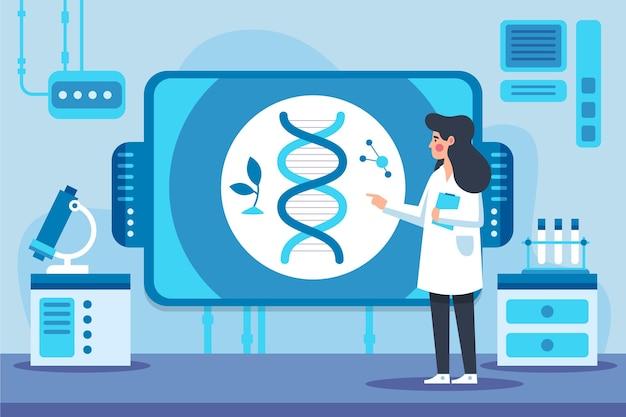 Ilustración de biotecnología de diseño plano