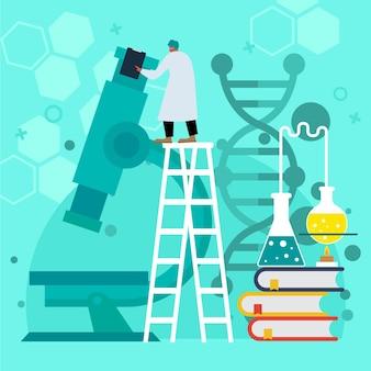 Ilustración de biotecnología plana con investigador.