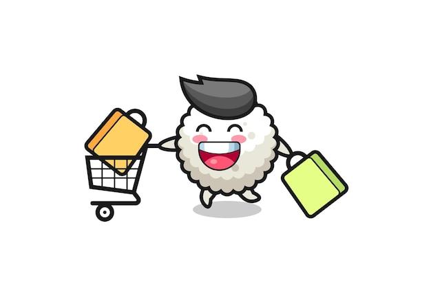 Ilustración de black friday con linda mascota de bola de arroz, diseño de estilo lindo para camiseta, pegatina, elemento de logotipo