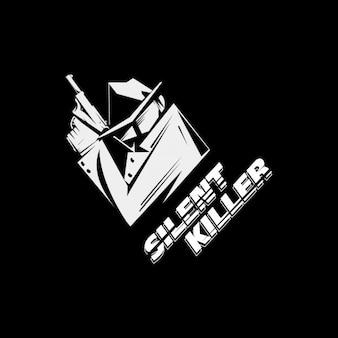 Ilustración en blanco y negro de asesino