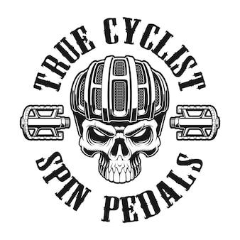 Ilustración en blanco y negro de una calavera en casco de ciclista sobre fondo blanco.