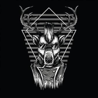 Ilustración de blanco y negro de ciervo de nodo