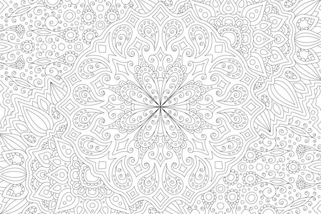 Ilustración en blanco y negro para colorear para adultos con patrón lineal