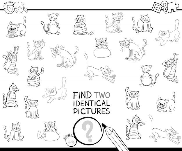Ilustración en blanco y negro de encontrar dos idénticas imágenes juego para niños con gatos