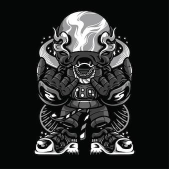 Ilustración en blanco y negro de la juventud espacial