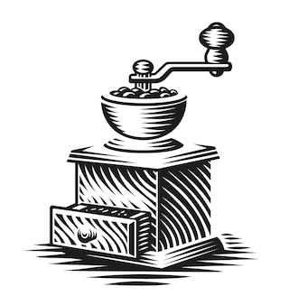 Una ilustración en blanco y negro de un molinillo de café vintage en estilo de grabado
