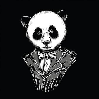 Ilustración de blanco y negro de panda blanca