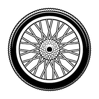 Ilustración en blanco y negro de rueda de bicicleta sobre fondo blanco.