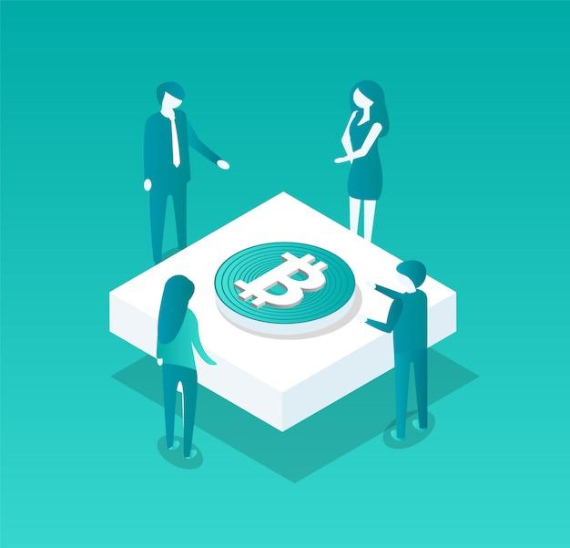 Ilustración de blockchain meeting of people