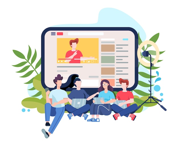 Ilustración de blogger. comparta y vea contenido en internet. idea de redes sociales y redes. comunicación online. ilustración