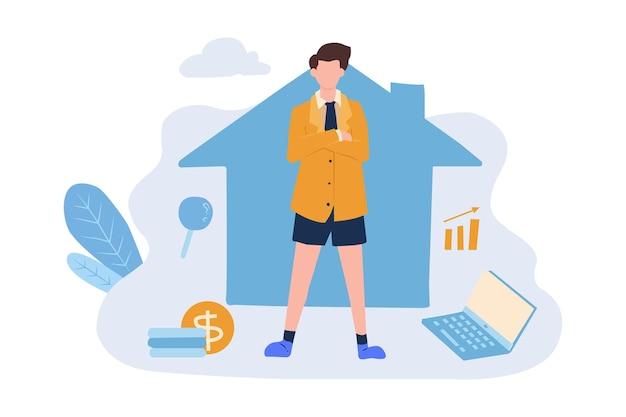 Ilustración de boceto dibujo a mano de un hombre trabaja desde casa con los brazos cruzados