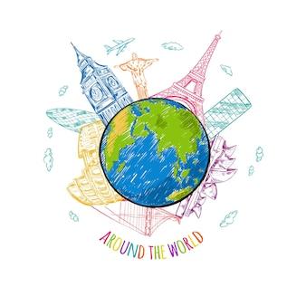 Ilustración de boceto de viajes mundiales