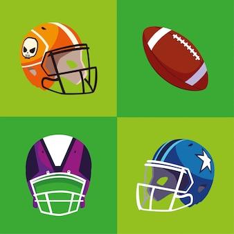Ilustración de bola y cascos de super bowl