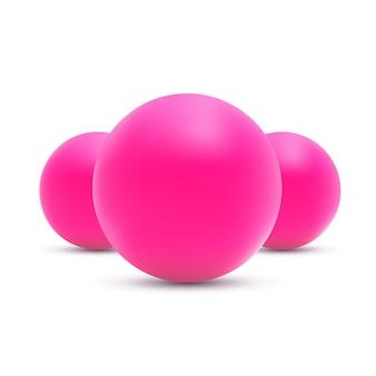 Ilustración de bolas de color rosa sobre fondo blanco.
