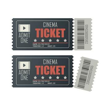 Ilustración de boleto de cine aislado en blanco