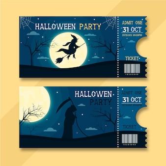 Ilustración de boletos de halloween plana