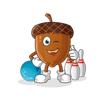 Ilustración de bolos de juego de mascota de bellota