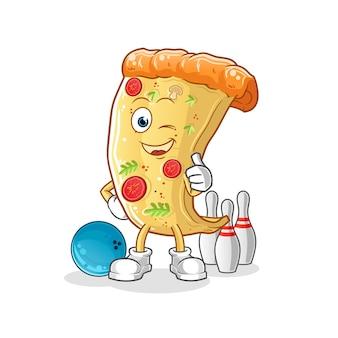 Ilustración de bolos de juego de pizza. personaje