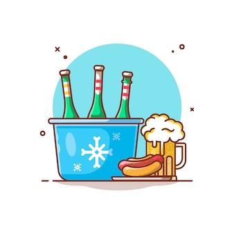 Ilustración de bolsa de congelador, cerveza fría y perrito caliente