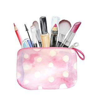 Ilustración de una bolsa de cosméticos con cosméticos. sobre fondo blanco. un conjunto de cosméticos: lápiz labial, rímel, sombras, pincel, resaltador.