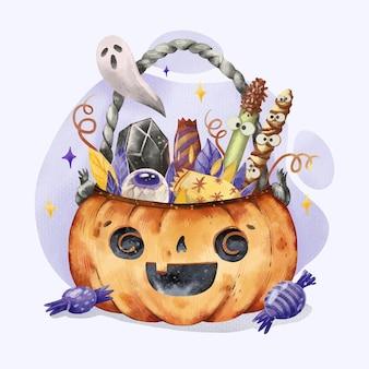 Ilustración de bolsa de halloween en acuarela