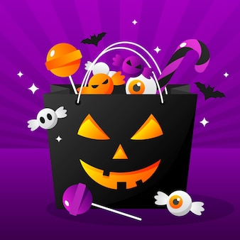Ilustración de bolsa de halloween degradado