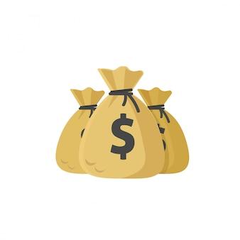 Ilustración de bolsas de dinero aislado