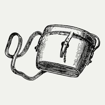 Ilustración de bolso de mochila vintage