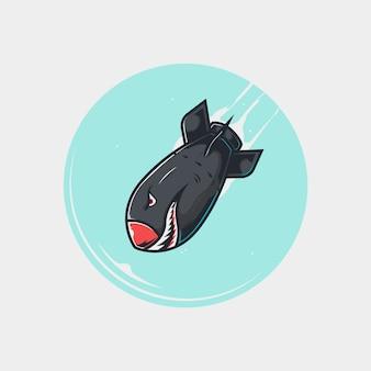 Ilustración de bomba atómica nuclear de tiburón