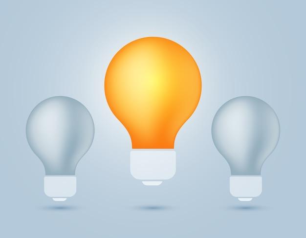 Ilustración de bombilla de luz apagada y una bombilla de luz amarilla brillante