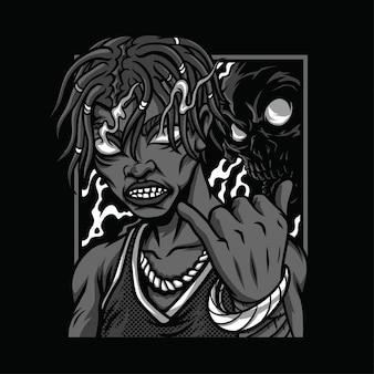 Ilustración de bombo interno en blanco y negro