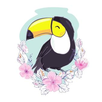 Una ilustración de un bonito tucán en formato vectorial. una linda imagen de pájaro tucán para la educación y diversión de los niños en guarderías y escuelas, y con fines decorativos