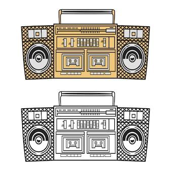 Ilustración de boombox de música de estilo antiguo