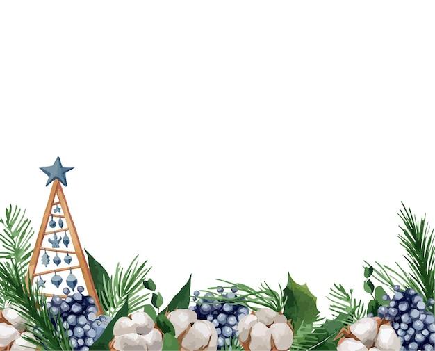 Ilustración, borde navideño con ramas de abeto, bayas y algodones