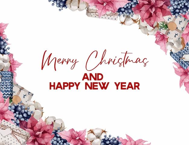 Ilustración, bordes navideños con ramas de abeto, bayas y algodones