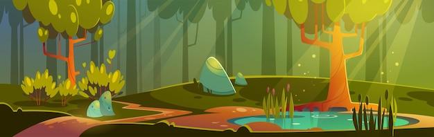 Ilustración de bosque de dibujos animados con estanque o pantano y sendero, paisaje natural con árboles, hierba verde y arbustos. vista del hermoso paisaje, madera de verano o primavera con flores y plantas,