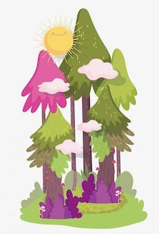 Ilustración del bosque de dibujos animados