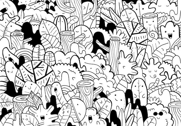 Ilustración del bosque del doodle en estilo de dibujos animados