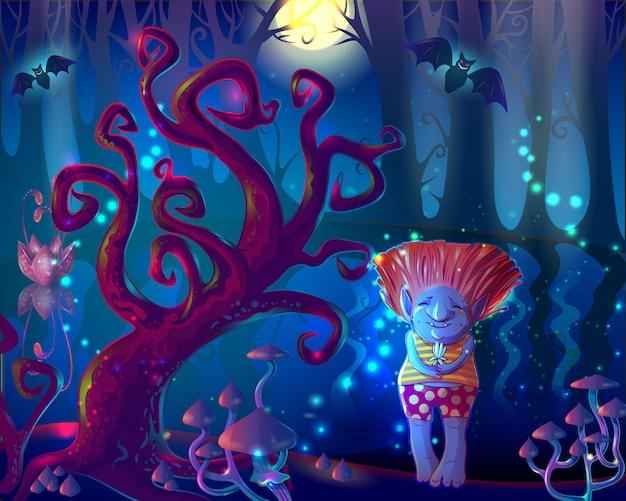 Ilustración del bosque encantado de magia oscura